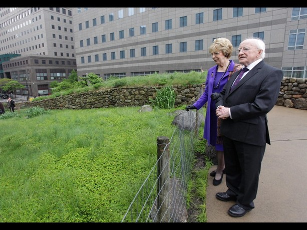 Michael D and Sabina securing the Mayo/Galway border from  the Milltown side